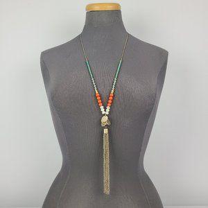 Gold Tone Orange & Blue Tassel Long Necklace
